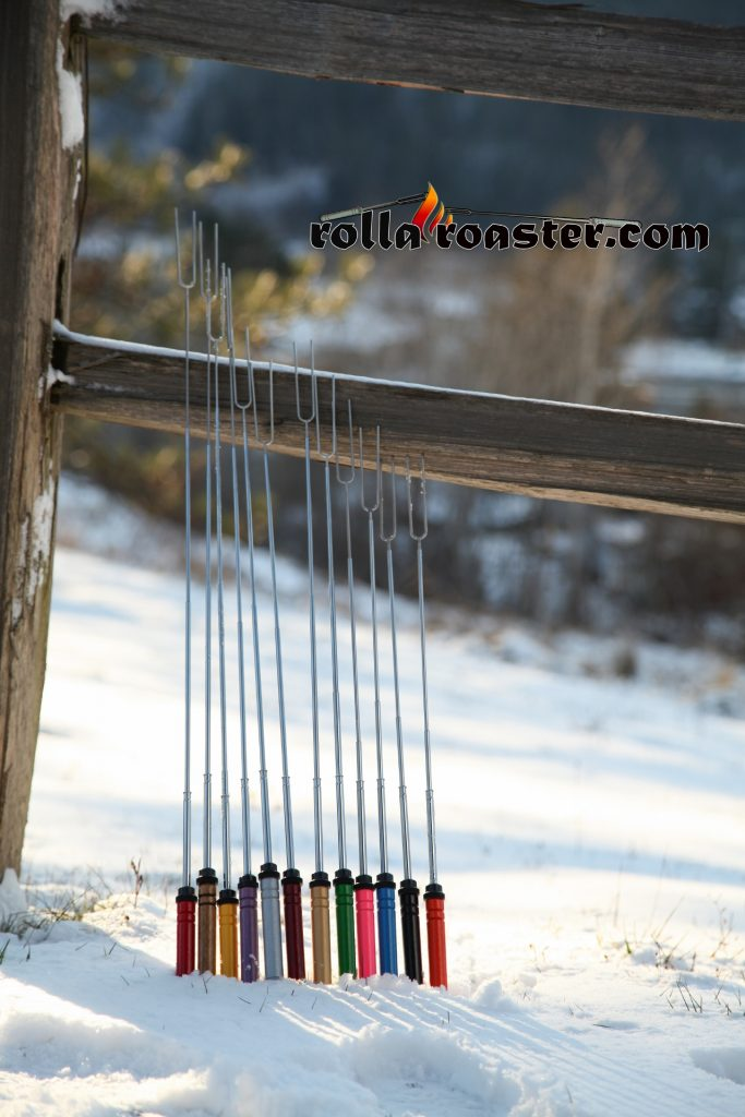 All the colors of the original marshmallow toasting fork that rotates.