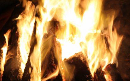 A roaring campfire.