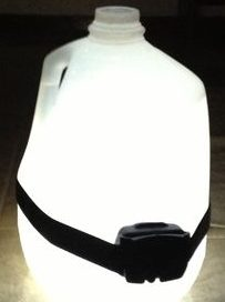 Homemade camping lantern with water jug and headlamp