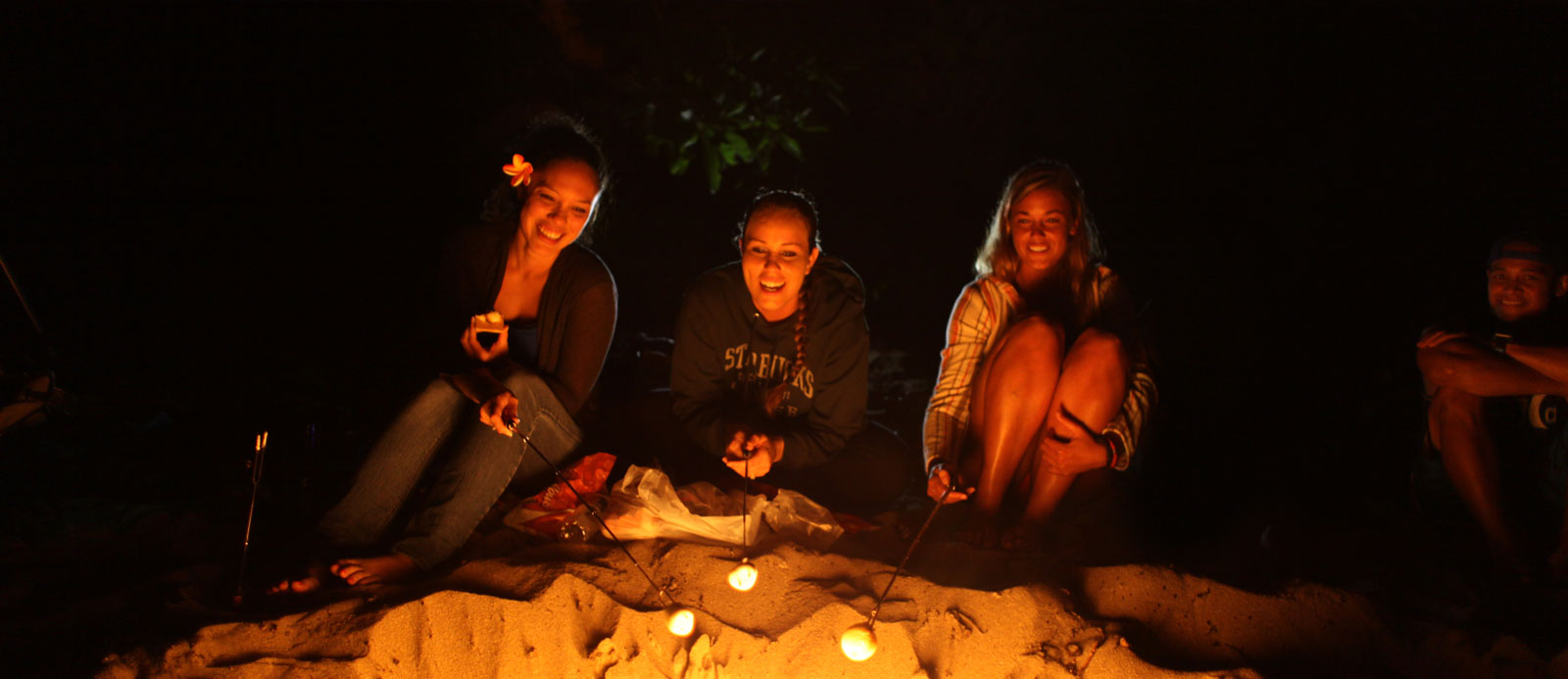 marshmallow roasting with friends